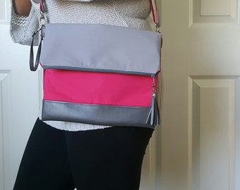 Pink Crossbody Bag, Crossbody Purse, Gray Crossbody, Crossbody Strap, Gray Faux Leather, Clutch Bag, Crossbody Handbag, Mothers day gift