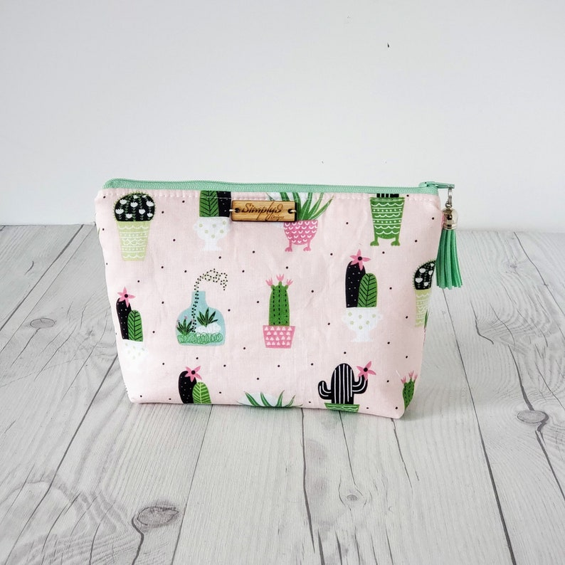 Cactus Makeup Bag Cactus Gift Cosmetic Bag Toiletry Bag image 0