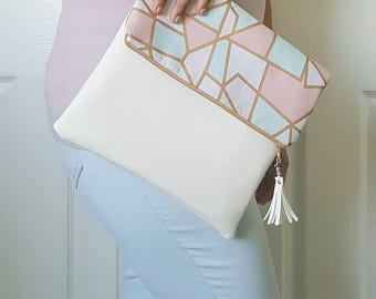 Pink Teal White Clutch Purse, Large Clutch Purse, Clutch Bag, White Faux Leather, Leather Clutch, Wristlet Clutch, Pastel Print, Pastel Bag