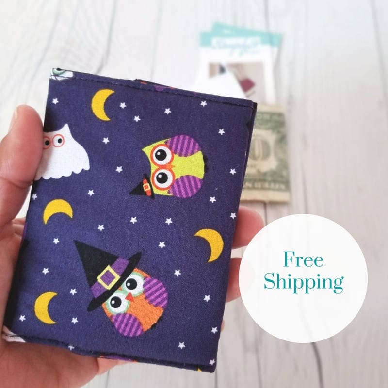 owl wallet halloween wallet orange polka dot wallet small women wallet business card wallet credit card wallet owl gifts gift holder