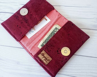 Cranberry Cork Wallet, Slim Wallet, Small Wallet, Credit Card Wallet, Credit Card Case, Business Card Wallet, Cork Fabric, Maroon Wallet