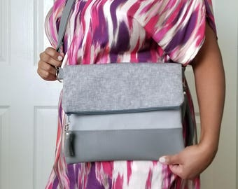 Gray Crossbody Bag, Crossbody Purse, Linen Crossbody, Crossbody Strap, Gray Faux Leather, Clutch Bag, Crossbody Handbag, Mothers day gift