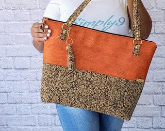 Work Bag Women, Work Tote, Laptop Bag, Cork Bag, Everyday Bag, Travel Bag, Orange Cork Handbag, Orange Handbag, Cork Purse, Cork Fabric