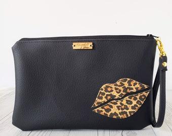 Wristlet Clutch, Black, Leopard, Cork Leather, Faux Leather, Wristlet Bag, Wristlet Purse, Clutch Purse, Clutch Bag, Crossbody, Pouch Zipper