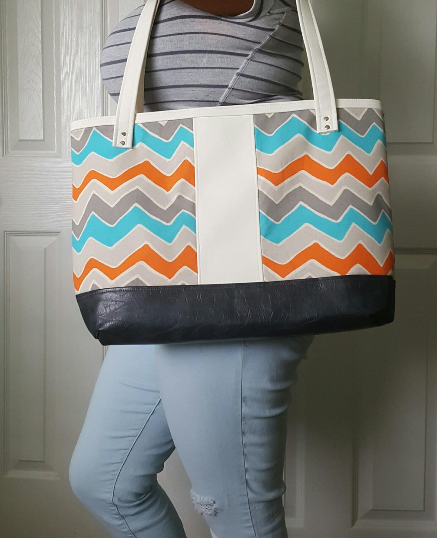 fb67e25c256a Gray Teal Orange Tote Bag - Faux Leather Bag - Shoulder Bag ...