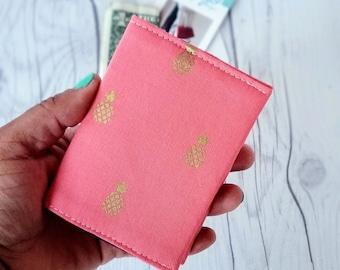 Pineapple Wallet, Coral Wallet, Slim Wallet, Small Women Wallet, Business Card Wallet, Credit Card Wallet, Credit Card Case, Wallet Keychain