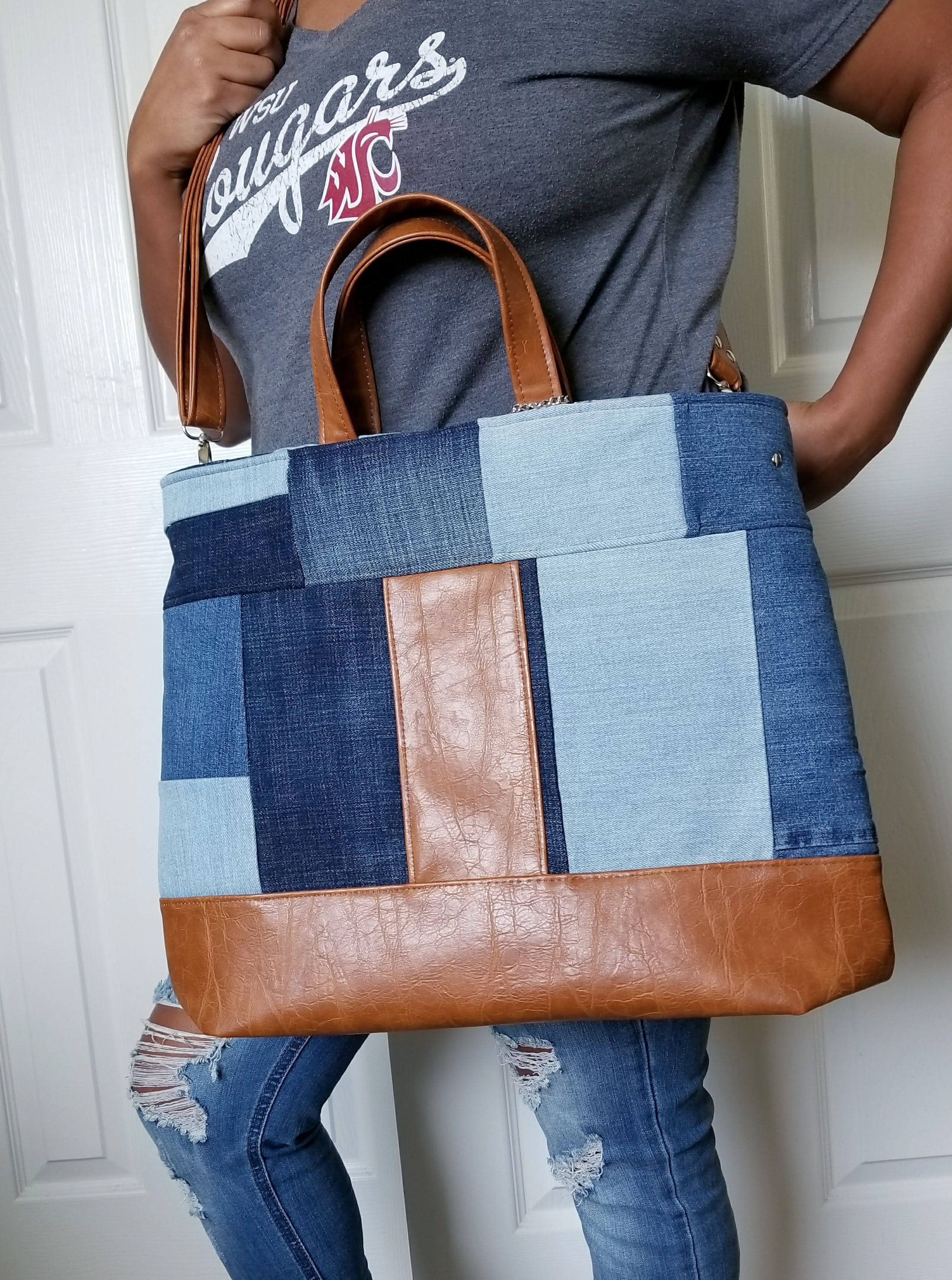 cc7ec7e598d Denim Bag, Blue Bag, Brown Faux Leather Bag, Crossbody, Tote ...