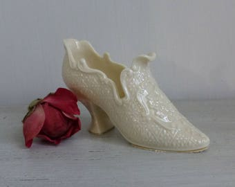 Vintage LENOX Porcelain Slipper Shoe, Pretty Bone China Fancy Slipper Shoe, Old Lenox Green Mark, Cinderella Slipper