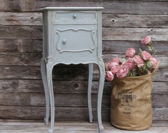 Painted French Gray Nightstand, Tall Nightstand, Vintage French Farmhouse Cottage Style Nightstand Side Table Marble Top, Shabby Chic