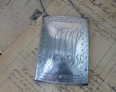 Antique Sterling Silver Chain Coin Purse with Mirror, Vintage Silver Card or Cigarette Case, Sterling Hallmark Great Gift Idea
