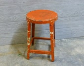 Vintage Chippy Orange Industrial Metal Stool - Small Stool Plant Stand - Rustic Chippy Iron Stool - Great Photo Prop - Tiny Side Table