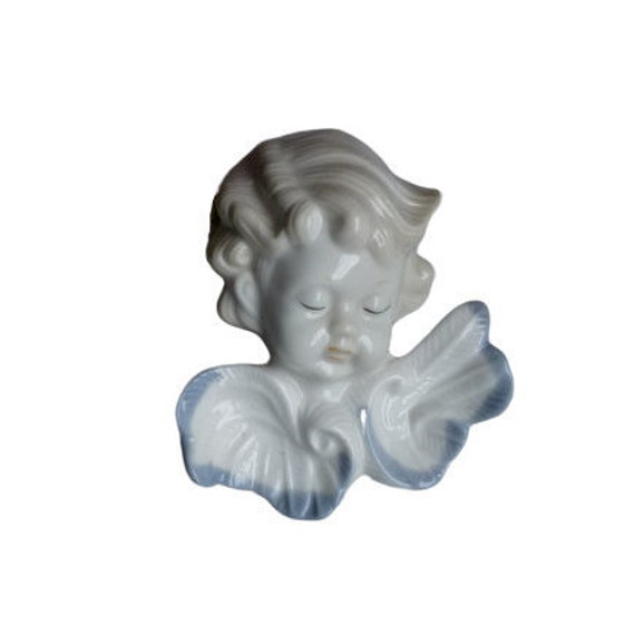 Beautiful Sweet Face Angel Lidded Small Jewelry Trinket Box Porcelain Cherubic Face Ring Box