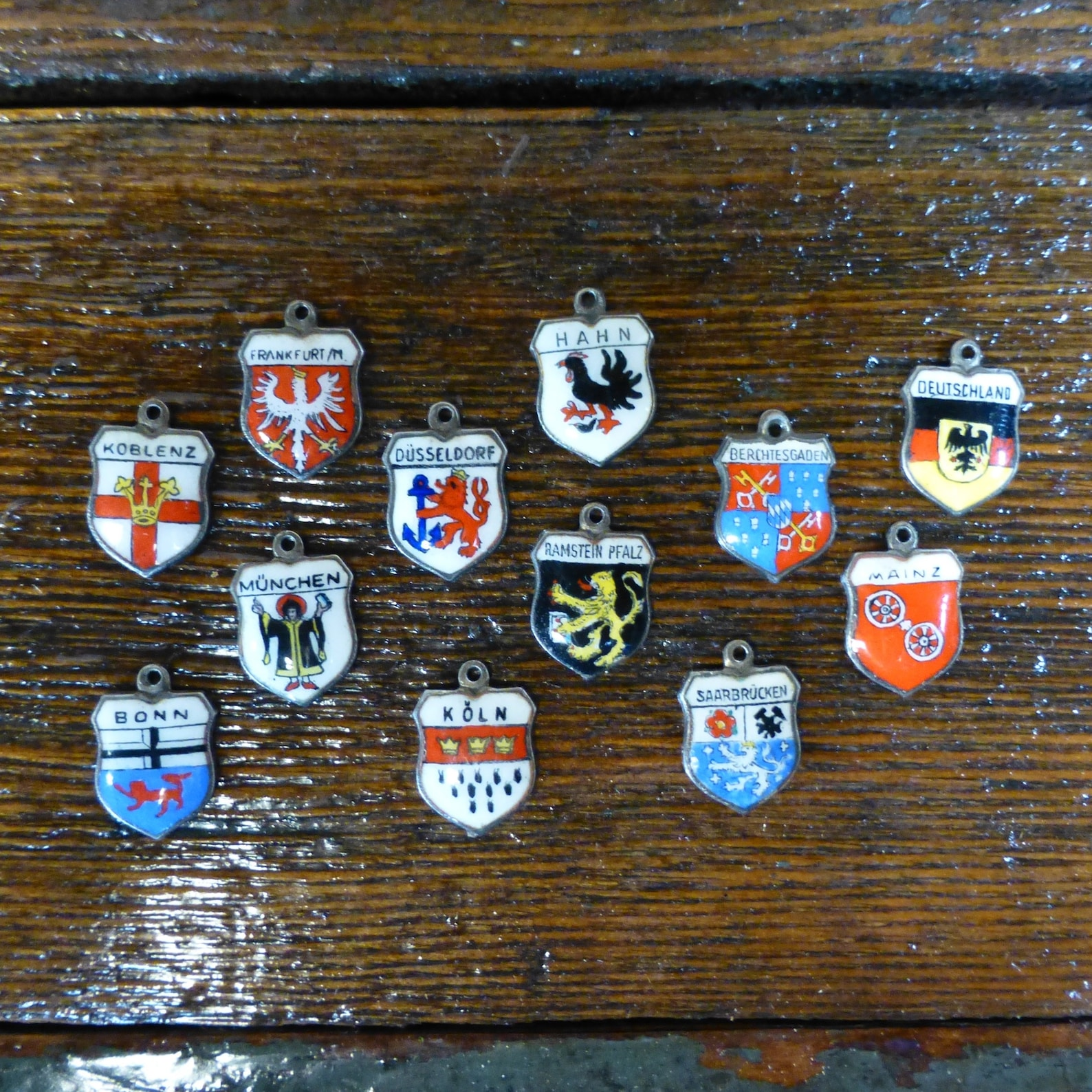 Vintage Germany Souvenir Travel Charms - Coat of Arms Shield Charm in 800 Sterling Silver - REU Fritz Reu and Co.