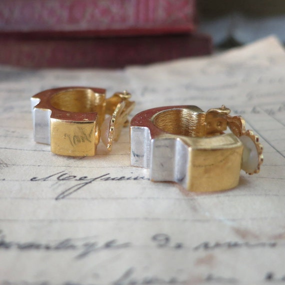 Vintage Lanvin Paris Earrings, Gold & Silver LANV… - image 2
