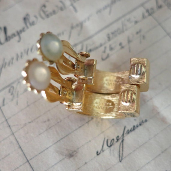 Vintage Lanvin Paris Earrings, Gold & Silver LANV… - image 5