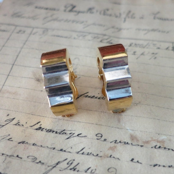 Vintage Lanvin Paris Earrings, Gold & Silver LANV… - image 1