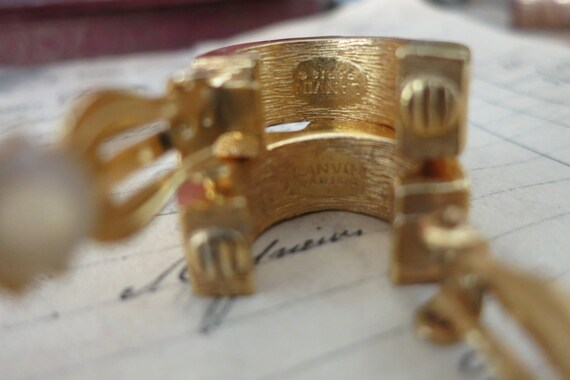 Vintage Lanvin Paris Earrings, Gold & Silver LANV… - image 8