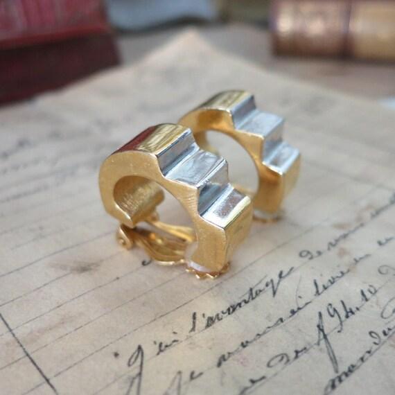 Vintage Lanvin Paris Earrings, Gold & Silver LANV… - image 3
