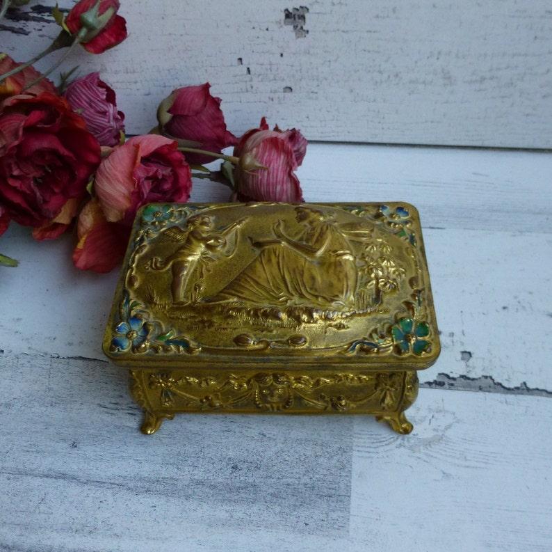 Antique Art Nouveau Gold Fairy /& Cherub Jewelry Box Silk Lined Pretty Ladies Dresser Vanity Box Great Gift Idea!