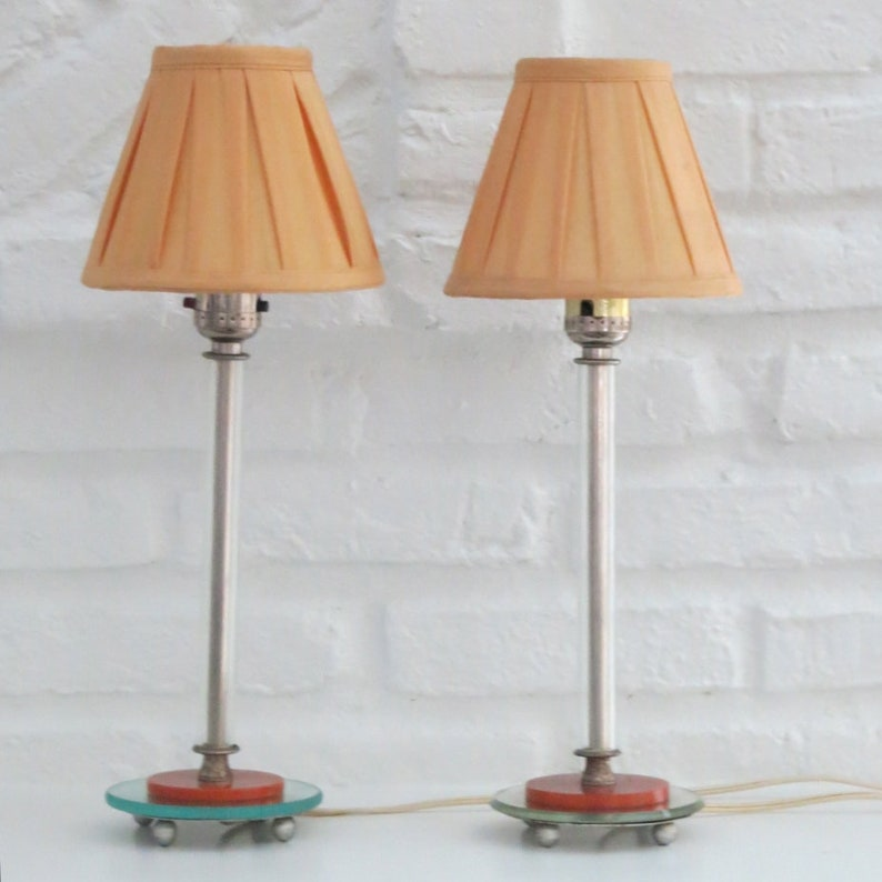 Vintage Pair Small Glass Lamps Perfect Petite Bedside Table Lighting Mirrored Glass /& Bakelite Vanity Bourdoir Nursery Accent Lights