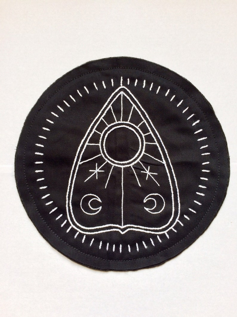 SALE Hand Embroidered Black Ouija Planchette Patch