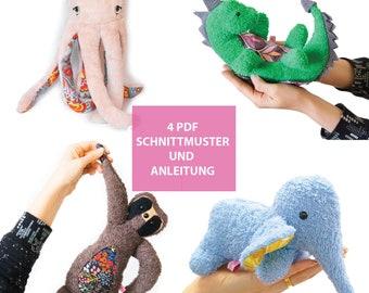 4 x PDF DIY Anleitungen zum Nähen Octopus Dino Faultier Elefant