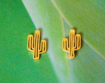 Cactus gold plated earrings