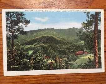 vintage color postcard, Mt. Le Conte, Great Smoky Mountains National Park (unused)