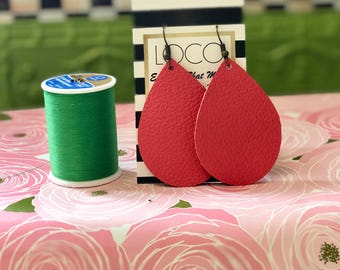Coral Leather earring