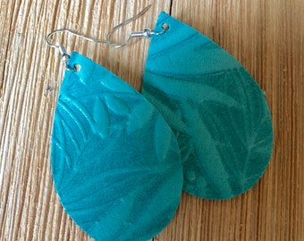 Minty Green Leave Embossed Leather Earring