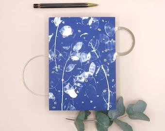 Greeting Card Honesty - Cyanotype design - Gold foil finish - FSC paper - blue - analogue photography - stationary - envelope