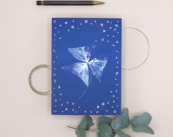 Greeting Card Japanese Triangle - Cyanotype design - Gold foil finish - FSC paper - blue - analogue photography - stationary - envelope