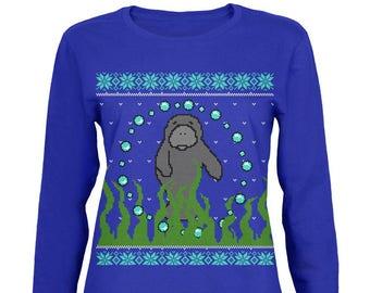 ee0cee97 Ugly Christmas Sweater Manatee Floaty Potato Womens Long Sleeve T Shirt