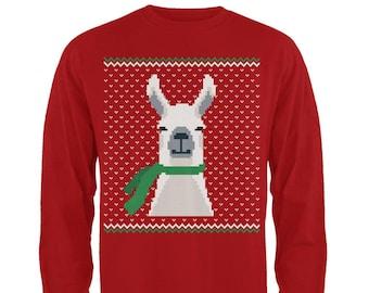 Ugly Christmas Sweater Big Llama Red Toddler Long Sleeve T-Shirt