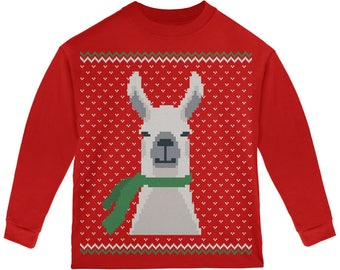 d3829d8433f1 Ugly Christmas Sweater Big Llama Green Youth Long Sleeve