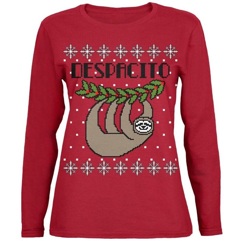 Corgi Ugly Christmas Sweater Green Womens Long Sleeve T-Shirt