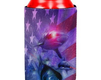 4th of July Patriotic American Galaxy Laser Sharks All Over Can Cooler