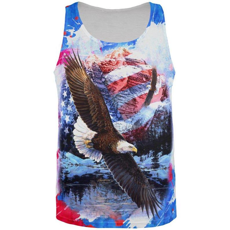 4th of July American Flag Bald Eagle Splatter All Over Mens Tank Top