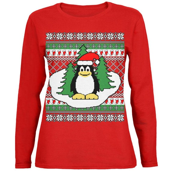 0518816aed7e Penguin on Ice Ugly Christmas Sweater Womens Long Sleeve T