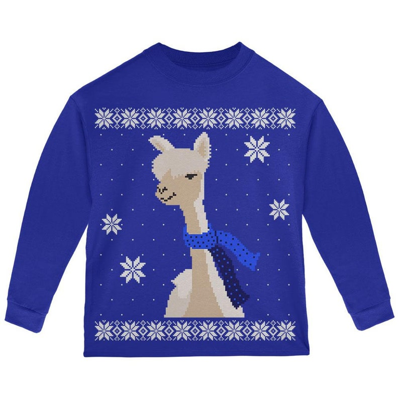 b94d56567119 Big Alpaca Scarf Ugly Christmas Sweater Toddler Long Sleeve T