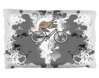 Bicycle Sloth Funny Grunge Splatter Pillow Case
