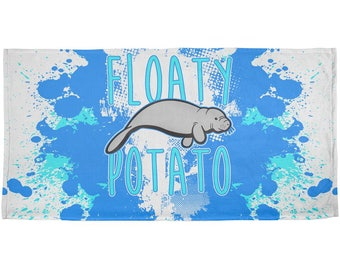 Floaty Potato Manatee Funny Grunge Splatter All Over Beach Towel