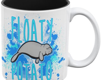 Floaty Potato Manatee Funny Grunge Splatter All Over Coffee Mug