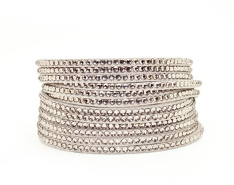 Summer Beige Double Wrap Slake style Cuff with Swarovski Crystals and Studs on vegan suede FvnmXpq