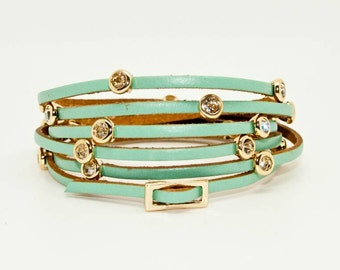 Turquoise Leather Wrap Cuff with Diamante and Gold Studs