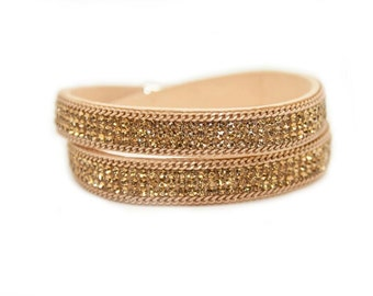 Summer Beige Double Wrap Slake style Cuff with Swarovski Crystals and Studs on vegan suede ilWtfxbSB
