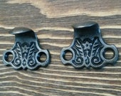 Antique Window Sash Lifts, Cast Iron Eastlake Era Design, Sold by Pair of 2 Each, ca 1885