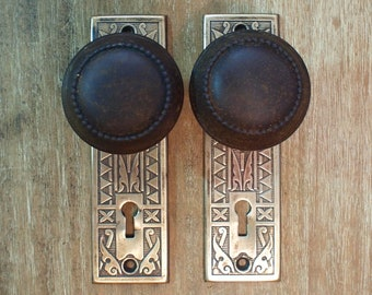 Antique Dummy Door Knobs, Cast Iron with Sargent Stamped Brass Flower Plates, Pair of 2 Each, ca 1890