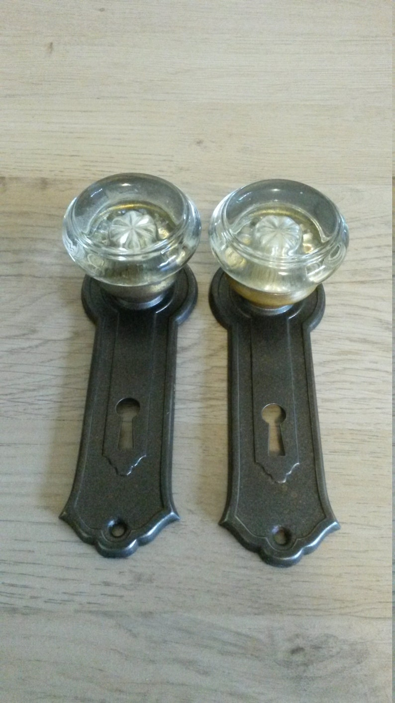 Antique Dummy Door Knobs ca 1925 Pair of 2 Each Round Glass Door Knobs on Reading Darby Wrought Steel Plates