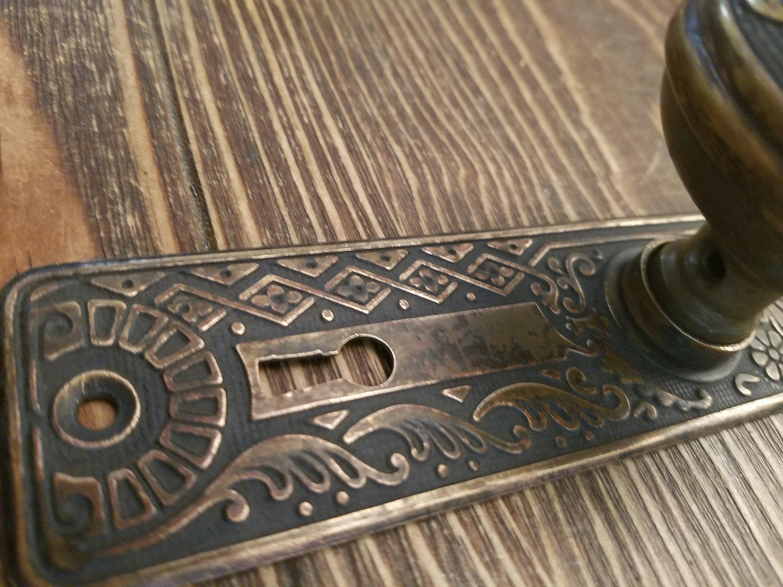 Antique Dummy Door Knob, Wrought Bronze Corbin Cairo Design with  Door Plate, One Each, ca 1905